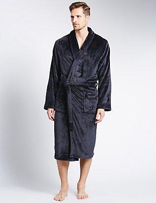 Supersoft Fleece Dressing Gown, NAVY, catlanding
