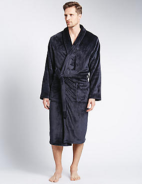 Supersoft Fleece Dressing Gown, NAVY, catlanding