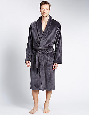 Premium Fleece Gown, DARK GREY, catlanding