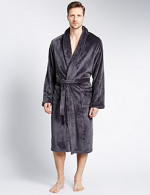 Premium Fleece Gown, DARK GREY, catlanding