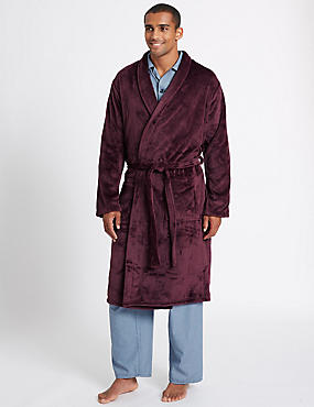Supersoft Fleece Dressing Gown, BURGUNDY, catlanding