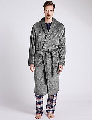 5 cm langere ochtendjas van fleece met ceintuur, GRIJSWIT, catlanding