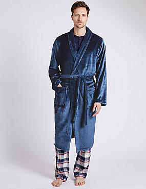 Supersoft Fleece Dressing Gown with Belt, DENIM MIX, catlanding