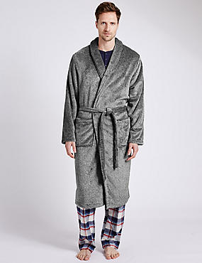Supersoft Premium Fleece Dressing Gown, GREY MARL, catlanding