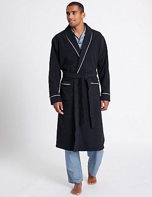 Shawl Neck Fleece Dressing Gown, NAVY, catlanding