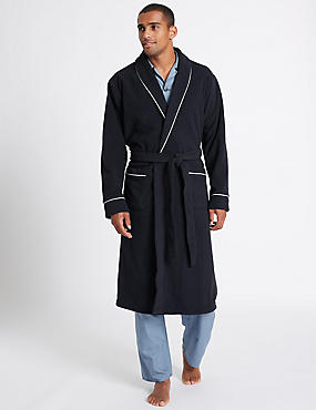 Shawl Neck Fleece Dressing Gown, NAVY, catlanding