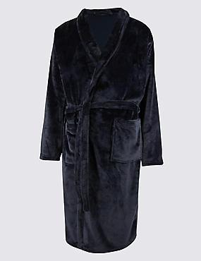 Shawl Neck Dressing Gown, NAVY, catlanding