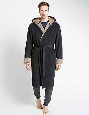 Robe de chambre douce en polaire sans coutures, GRIS, catlanding