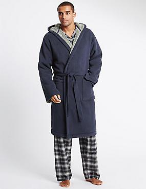 Stay Soft Bonded Fleece Dressing Gown, NAVY, catlanding
