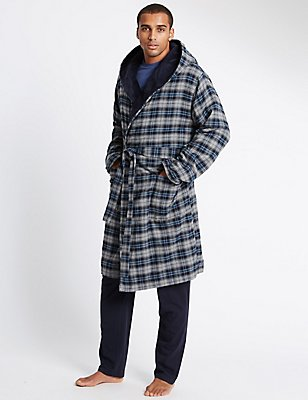 Brushed Cotton with Fleece Lining Checked Gown  , BLUE MIX, catlanding