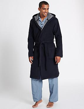 Hooded Fleece Dressing Gown with Belt, NAVY, catlanding