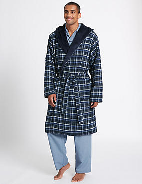 Pure Cotton Checked Dressing Gown with Belt, BLUE MIX, catlanding