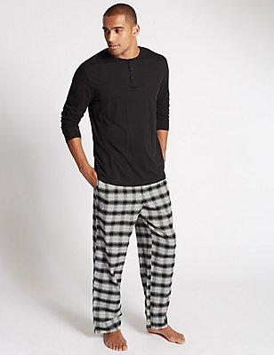2in Longer Pure Cotton Checked Pyjamas, GREY MIX, catlanding