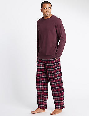 Brushed Cotton Stay Soft Checked Pyjama Set, WINE, catlanding