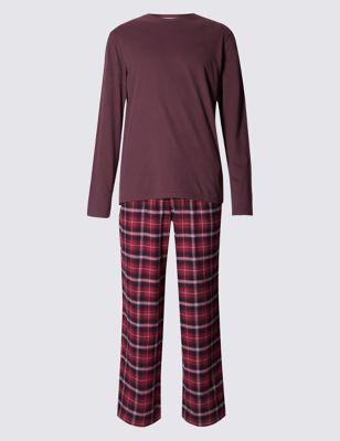 Пижамный комплект из чистого хлопка: футболка с длинным рукавом и фланелевые брюки в клетку