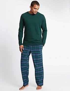 Brushed Cotton Stay Soft Checked Pyjama Set, GREEN MIX, catlanding