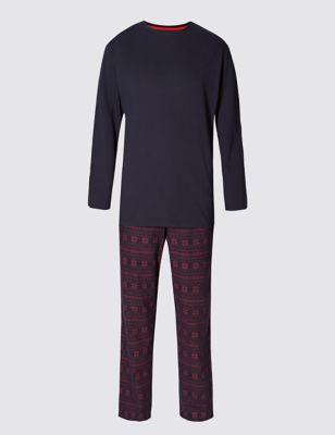 Ультрамягкий пижамный комплект Xmas из брашированного хлопка M&S Collection T077546