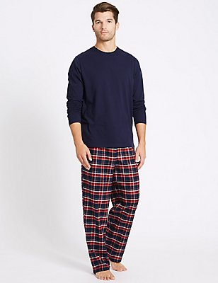 2in Longer Pure Cotton Checked Pyjamas, NAVY/RED, catlanding