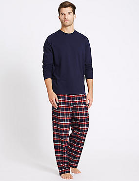 Pure Cotton Checked Pyjama Set, NAVY/RED, catlanding