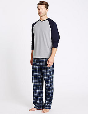 2in Longer Pure Cotton Checked Pyjama Set, NAVY MIX, catlanding