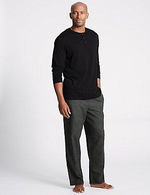 Pure Brushed Cotton Checked Pyjama Set, DARK GREY, catlanding