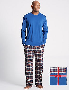 Pure Cotton Checked Pyjama Set, RED MIX, catlanding