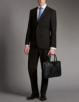 Luxury Leather Laptop Bag, BLACK, catlanding