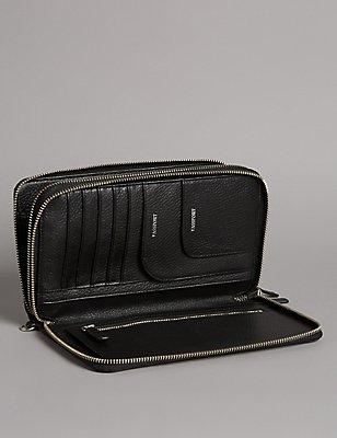 Luxury Leather Double Travel Wallet, BLACK, catlanding