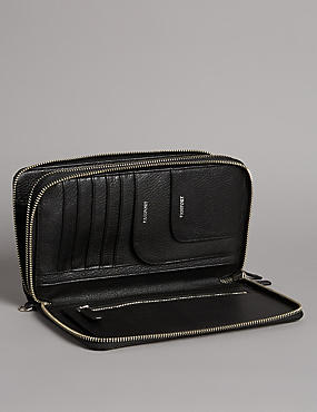 Luxury Leather Double Travel Wallet, BLACK, catlanding
