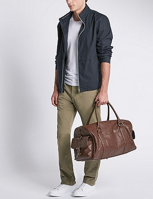 Faux Leather Holdall, BROWN, catlanding