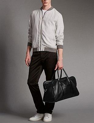 Luxury Leather Holdall, BLACK, catlanding