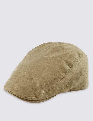 Pure Linen Cool & Fresh™ Checked Flat Cap, KHAKI, catlanding