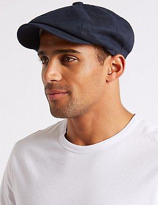 Pure Linen Baker Boy Cap with Cool & Fresh™, NAVY, catlanding