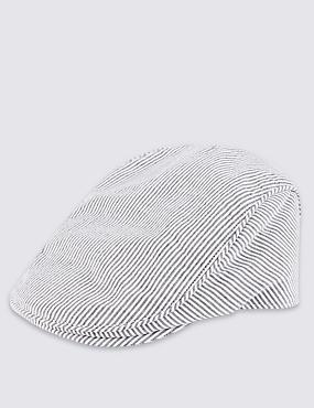 Pure Cotton Cool & Fresh™ Seersucker Striped Flat Cap, GREY MIX, catlanding