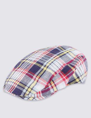 Плоская кепка из чистого льна в клетку Madras от Marks & Spencer