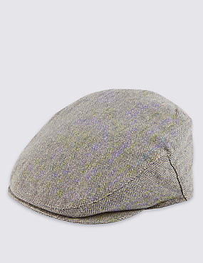 Silk Rich Herringbone Flat Cap