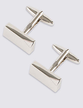 Dented Corner Cufflinks, WHITE, catlanding