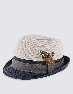 Colour Block Trilby Hat, GREY MIX, catlanding