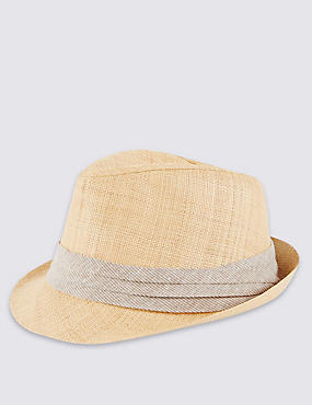 Textured Straw Trilby Hat, NATURAL, catlanding
