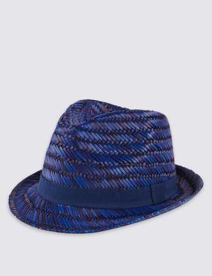 Яркая шляпа трилби с крупным диагональным плетением M&S Collection T091250M