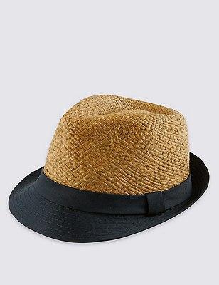 Brim Trilby Hat, NAVY MIX, catlanding