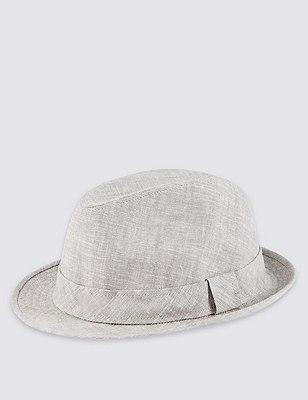 Linen Blend Cool & Fresh™ Marl Trilby Hat, GREY MARL, catlanding
