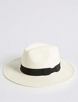 Handwoven Panama Hat, NATURAL, catlanding