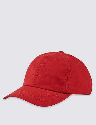 Pure Cotton Baseball Cap, RED, catlanding