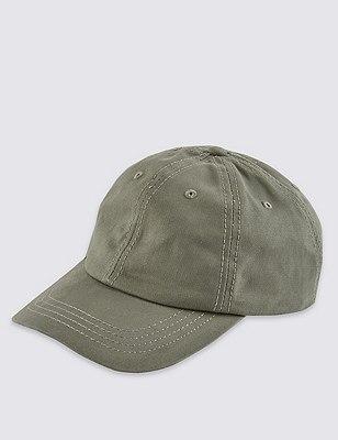 Pure Cotton Baseball Cap, OLIVE, catlanding