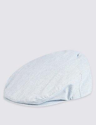 Seersucker Flat Cap , BLUE/WHITE, catlanding