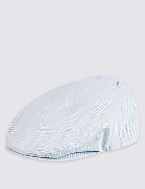 Pure Cotton Seersucker Flat Cap , BLUE/WHITE, catlanding