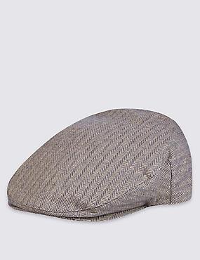 Casquette anglaise en coton à motif chevrons, BLEU MARINE ASSORTI, catlanding