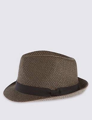 Double Weave Textured Trilby Summer Hats, KHAKI, catlanding