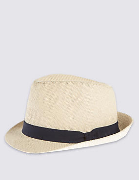 Double Weave Textured Trilby Hat, STONE, catlanding